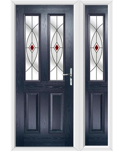 The Cardiff Composite Door in Blue with Red Fusion Ellipse and matching Side Panel