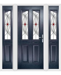The Birmingham Composite Door in Blue with Red Fusion Ellipse and matching Side Panels