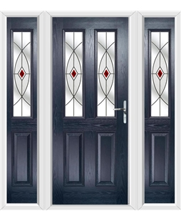 The Cardiff Composite Door in Blue with Red Fusion Ellipse and matching Side Panels