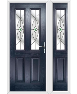 The Cardiff Composite Door in Blue with Green Fusion Ellipse and matching Side Panel