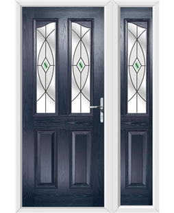 The Birmingham Composite Door in Blue with Green Fusion Ellipse and matching Side Panel