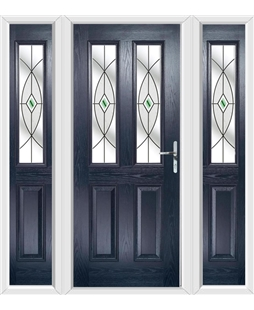 The Cardiff Composite Door in Blue with Green Fusion Ellipse and matching Side Panels