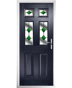 The Oxford Composite Door in Blue with Green Diamonds