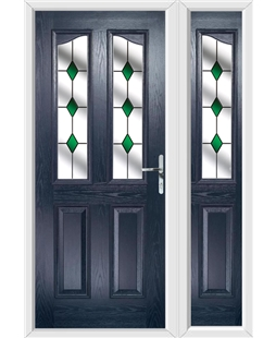 The Birmingham Composite Door in Blue with Green Diamonds and matching Side Panel