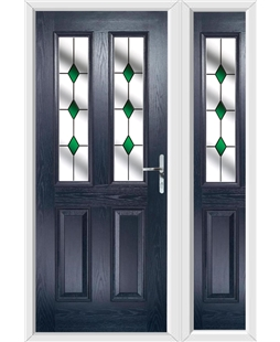 The Cardiff Composite Door in Blue with Green Diamond and matching Side Panel