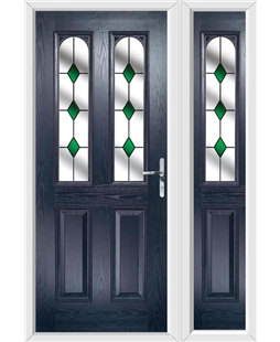 The Aberdeen Composite Door in Blue with Green Diamonds and matching Side Panel