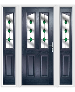 The Birmingham Composite Door in Blue with Green Diamonds and matching Side Panels