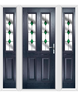 The Cardiff Composite Door in Blue with Green Diamonds and matching Side Panels