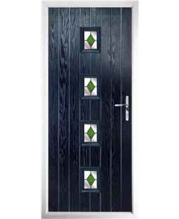 The Uttoxeter Composite Door in Blue with Green Diamonds