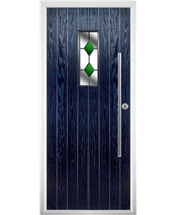 The Zetland Composite Door in Blue with Green Diamonds
