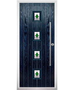 The Leicester Composite Door in Blue with Green Diamonds
