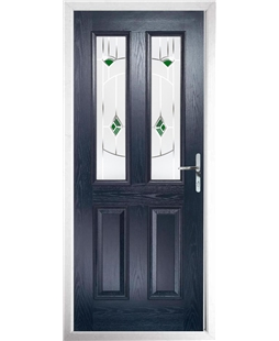 The Cardiff Composite Door in Blue with Green Murano