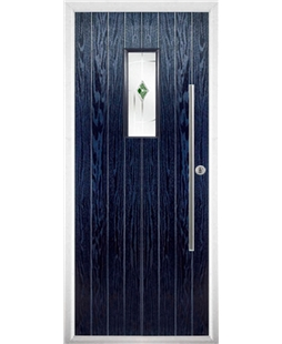 The Zetland Composite Door in Blue with Green Murano