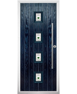 The Leicester Composite Door in Blue with Green Murano