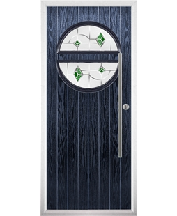 The Xenia Composite Door in Blue with Green Murano