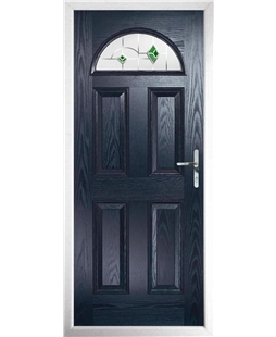 The Derby Composite Door in Blue with Green Murano