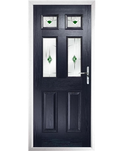 The Oxford Composite Door in Blue with Green Murano