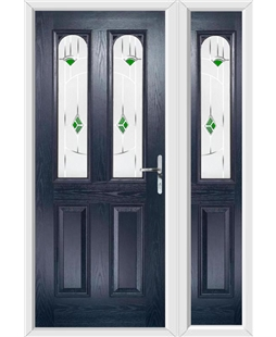 The Aberdeen Composite Door in Blue with Green Murano and matching Side Panel