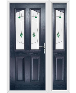 The Birmingham Composite Door in Blue with Green Murano and matching Side Panel