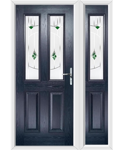 The Cardiff Composite Door in Blue with Green Murano and matching Side Panel
