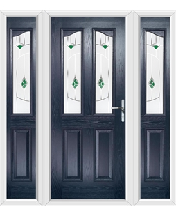 The Birmingham Composite Door in Blue with Green Murano and matching Side Panels
