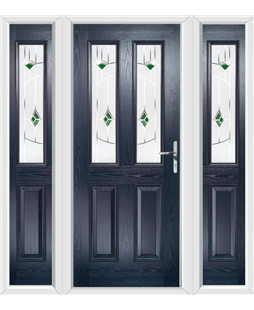 The Cardiff Composite Door in Blue with Green Murano and matching Side Panels