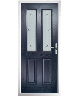 The Cardiff Composite Door in Blue with Jewel Glazing