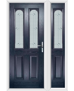 The Aberdeen Composite Door in Blue with Jewel Glazing and Matching Side Panel