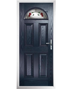The Derby Composite Door in Blue with Mackintosh Rose