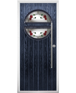 The Xenia Composite Door in Blue with Mackintosh Rose