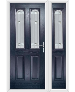 The Aberdeen Composite Door in Blue with Milan Glazing and Matching Side Panel