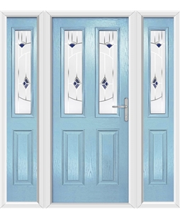 The Cardiff Composite Door in Blue (Duck Egg) with Blue Murano and matching Side Panels