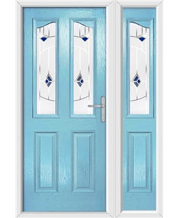 The Birmingham Composite Door in Blue (Duck Egg) with Blue Murano and matching Side Panel