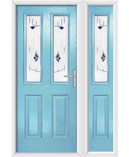 The Cardiff Composite Door in Blue (Duck Egg) with Blue Murano and matching Side Panel