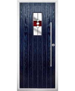 The Zetland Composite Door in Blue with Red Crystal Bohemia