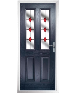 The Cardiff Composite Door in Blue with Red Diamonds