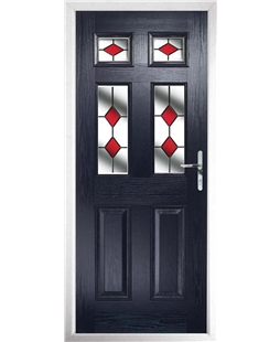 The Oxford Composite Door in Blue with Red Diamonds