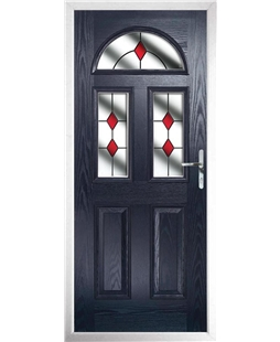The Glasgow Composite Door in Blue with Red Diamonds