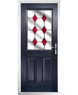 The Farnborough Composite Door in Blue with Red Diamonds