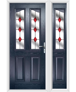 The Birmingham Composite Door in Blue with Red Diamonds and matching Side Panel
