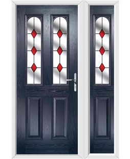 The Aberdeen Composite Door in Blue with Red Diamonds and matching Side Panel