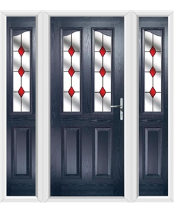 The Birmingham Composite Door in Blue with Red Diamonds and matching Side Panels