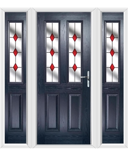 The Cardiff Composite Door in Blue with Red Diamonds and matching Side Panels