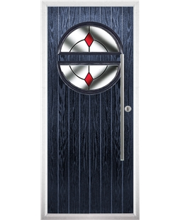 The Xenia Composite Door in Blue with Red Diamonds