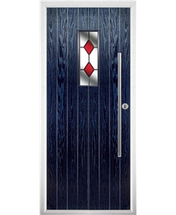 The Zetland Composite Door in Blue with Red Diamonds