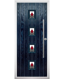 The Leicester Composite Door in Blue with Red Diamonds