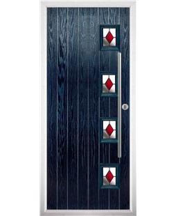 The Norwich Composite Door in Blue with Red Diamonds