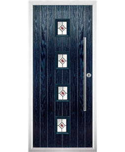 The Leicester Composite Door in Blue with Red Fusion Ellipse