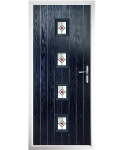 The Uttoxeter Composite Door in Blue with Red Fusion Ellipse