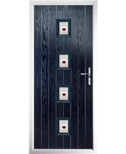 The Uttoxeter Composite Door in Blue with Red Murano